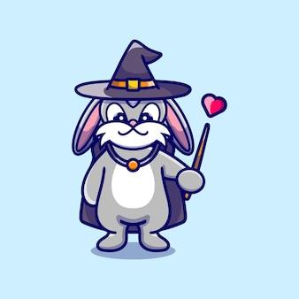 Halloweenowy śliczny króliczek czarodziej z kapeluszem, płaszczem, miłością i różdżką