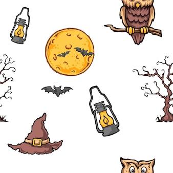 Halloweenowy sowa księżyc w pełni bezszwowy wzór