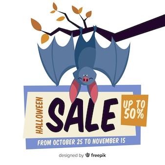 Halloweenowy sprzedaż skład z płaskim projektem