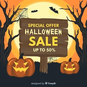 Halloweenowy sprzedaż sztandar na płaskim projekcie