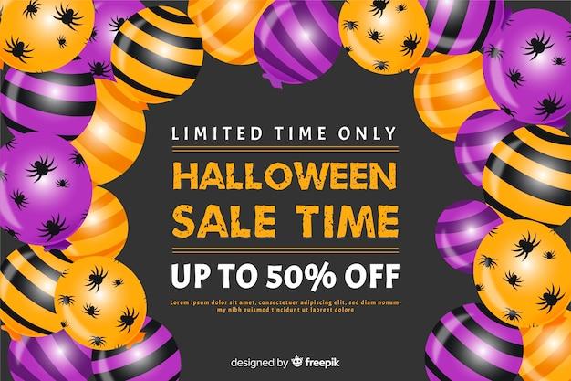 Halloweenowy sprzedaży pojęcie z płaskim projekta tłem