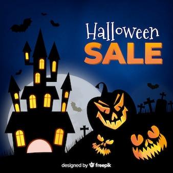 Halloweenowy sprzedaży tła realistyczny styl