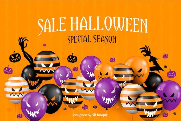 Halloweenowy sprzedaży tło i straszni balony