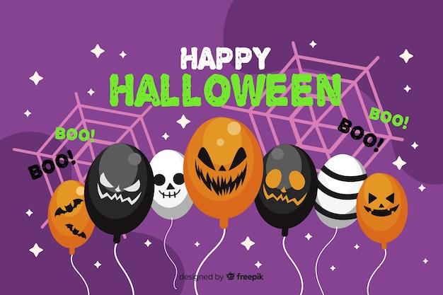 Halloweenowy sprzedaży tło z balonami w płaskim projekcie