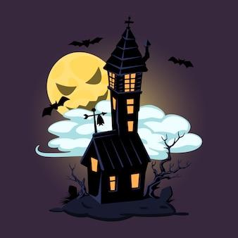 Halloweenowy stary dom i księżyc. wektor projektowania wydruków, koszulek, plakatów i banerów