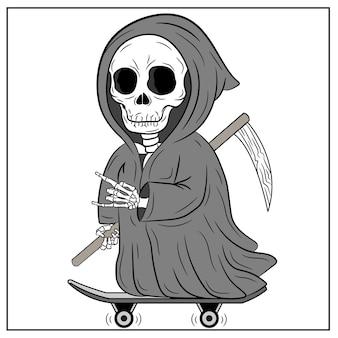 Halloweenowy straszny fajny rysunek żniwiarza