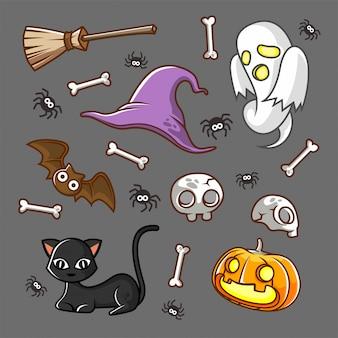 Halloweenowy straszny wzór, duch, kot, czarownica kapelusz, nietoperz kreskówki ilustracja