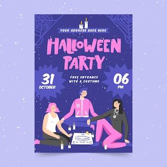 Halloweenowy styl plakatu party festiwal