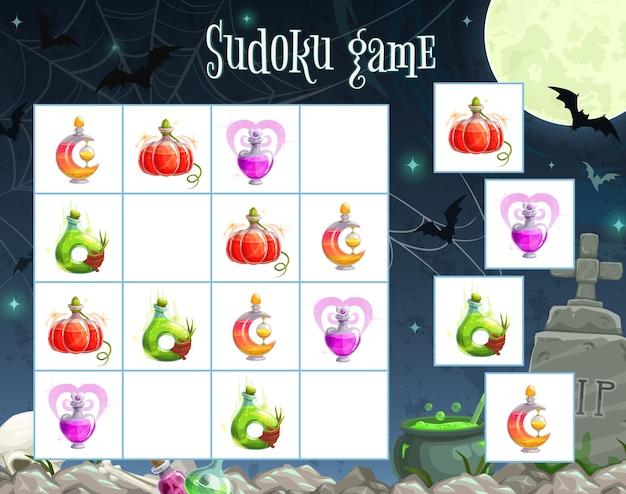 Halloweenowy szablon gry sudoku z kwadratową układanką edukacji dzieci