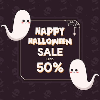 Halloweenowy szablon sprzedaży z uroczą ilustracją ducha