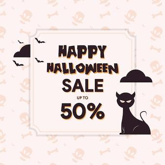 Halloweenowy szablon sprzedaży z uroczą ilustracją kota