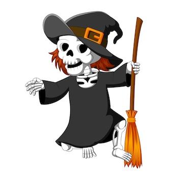 Halloweenowy szkielet jest ubranym czarownic kapelusz