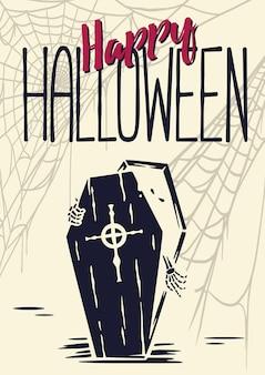 Halloweenowy szkielet lub wampir wyjdź z trumny halloweenowy nieumarły i chodzący martwy upiorny zombie