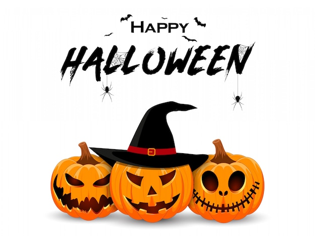 Halloweenowy sztandar projekt z uśmiechniętym dyniowym charakterem