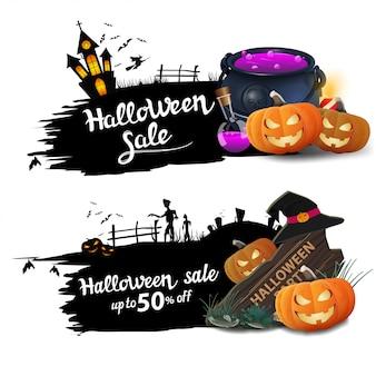 Halloweenowy sztandar sprzedaży, dwa czarne zniżki z kociołkiem czarownicy i dyniowym jackiem