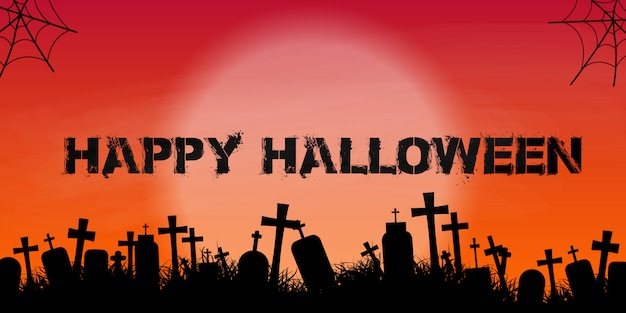 Halloweenowy sztandar z cmentarz sylwetką
