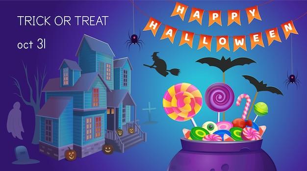 Halloweenowy sztandar z kociołkiem ze słodyczami i domem. ilustracja kreskówka. ikona gier i aplikacji mobilnej.