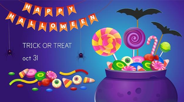 Halloweenowy sztandar z kociołkiem ze słodyczami. ilustracja kreskówka. ikona gier i aplikacji mobilnej.