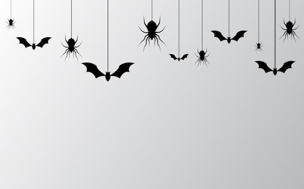 Halloweenowy sztandar z pająka tłem
