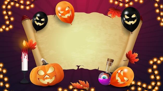 Halloweenowy sztandar z starym pergaminem