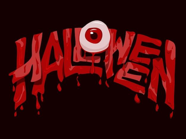 Halloweenowy tekst z krwawą gałką oczną w stylu horroru.