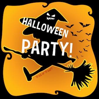 Halloweenowy temat z czarownicą na miotle