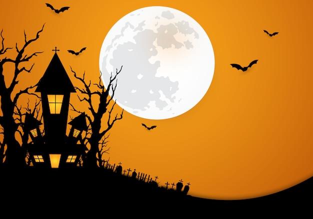 Halloweenowy tło dekorujący z kasztelem
