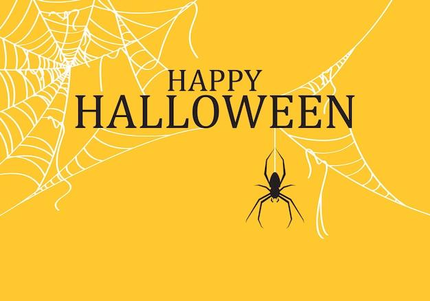 Halloweenowy tło dekorujący z pająka drzejącą siecią.