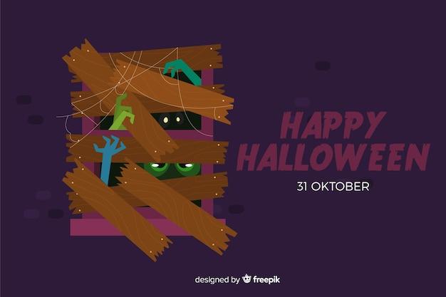 Halloweenowy tło na płaskim projekcie