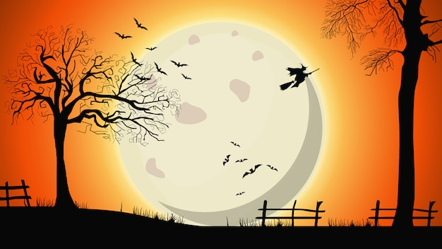 Halloweenowy tło, noc krajobraz z dużym żółtym księżyc w pełni, starymi drzewami i czarownicami na niebie