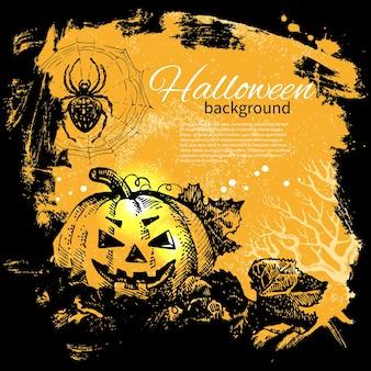 Halloweenowy tło. ręcznie rysowane ilustracja