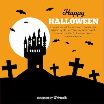 Halloweenowy tło w płaskim projekcie z domem i cmentarzem