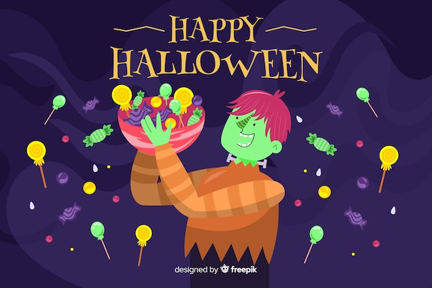 Halloweenowy tło w płaskim projekcie