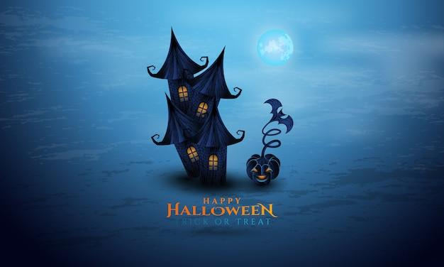 Halloweenowy tło z antycznym domem
