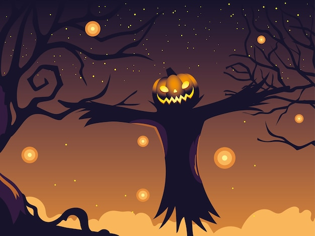 Halloweenowy tło z bani i strach na wróble