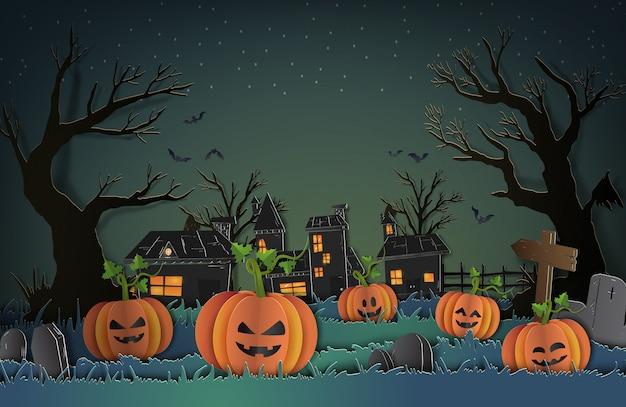 Halloweenowy tło z banią dla tło papieru cięcia stylu