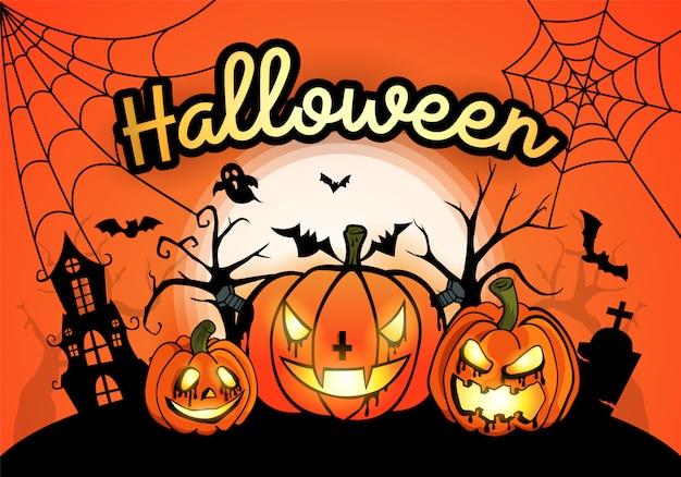 Halloweenowy tło z banią i księżyc