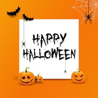 Halloweenowy tło z biel przestrzenią dla teksta i bani