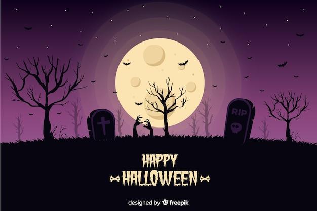 Halloweenowy tło z cmentarnianym płaskim projektem