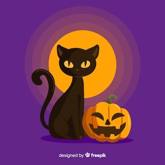 Halloweenowy tło z czarnym kotem