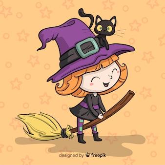 Halloweenowy tło z czarownicą