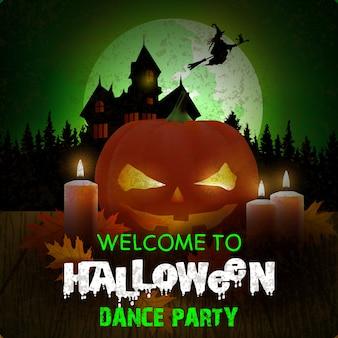 Halloweenowy tło z czarownicy lataniem w nocnym niebie