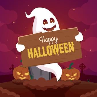 Halloweenowy tło z duchem i dynią na cmentarzu