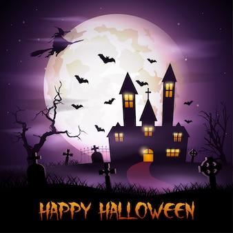 Halloweenowy tło z komarnicy czarownicą i strasznym kościół