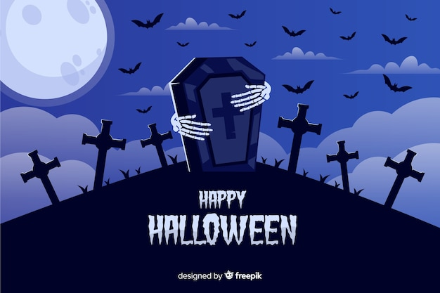 Halloweenowy tło z kościec rękami i grobowa kamieniem