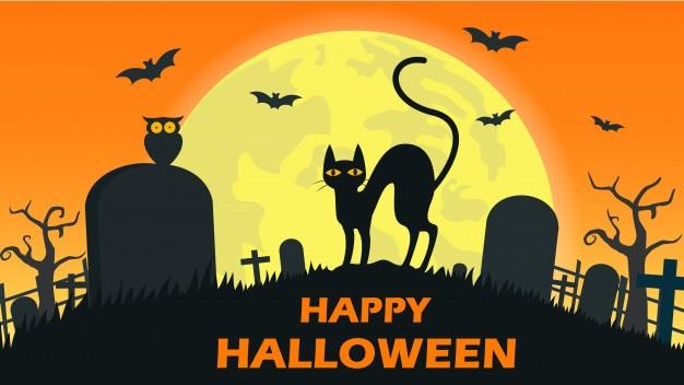 Halloweenowy tło z kota diabłem