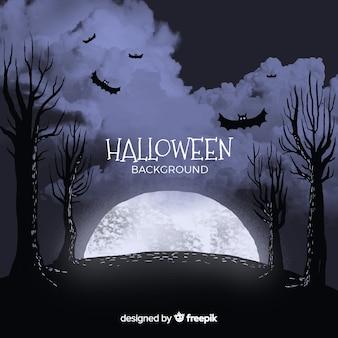 Halloweenowy tło z księżyc w pełni, nietoperzami i drzewami ,.