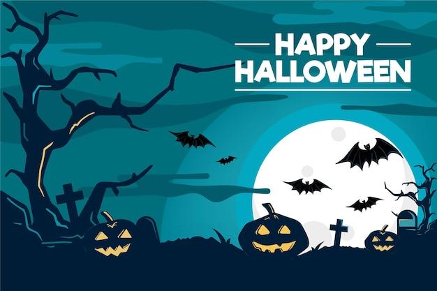 Halloweenowy tło z nietoperzami i baniami