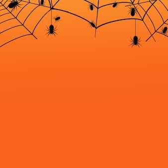 Halloweenowy tło z pająkiem i pajęczyną. wektor
