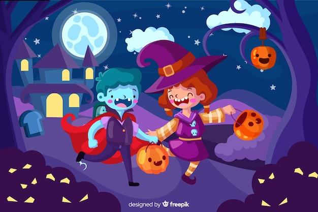 Halloweenowy tło z płaskim projektem